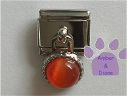 Round Dangle Topaz Cats Eye Birthstone Italian Charm November