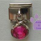 Round Dangle Tourmaline Crystal Birthstone Italian Charm October