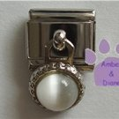 Round Dangle White Cats Eye Birthstone Italian Charm for April