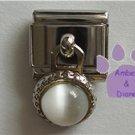 Round Dangle White Cats Eye Birthstone Italian Charm for April
