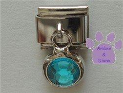 Round Dangle Zircon Crystal Birthstone Italian Charm December