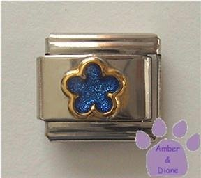 Blue Sapphire Glitter Flower Italian Charm for September