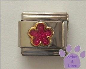 Pink Tourmaline Glitter Flower Italian Charm for October