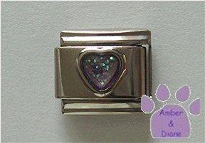 Glitter Heart Birthstone Italian Charm Alexandrite-Purple June