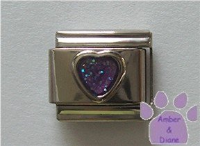 Glitter Heart Birthstone Italian Charm Amethyst-Purple for February