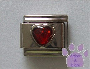 Glitter Heart Birthstone Italian Charm Garnet-Red for January