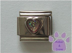 Glitter Heart Birthstone Italian Charm Opal-Pink for October