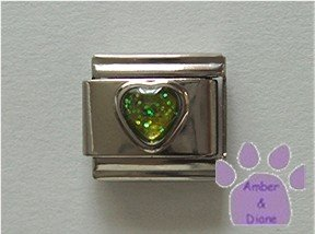 Glitter Heart Birthstone Italian Charm Peridot-Green for August