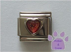 Glitter Heart Birthstone Italian Charm Ruby-Red for July
