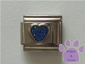 Glitter Heart Birthstone Italian Charm Sapphire-Blue for September