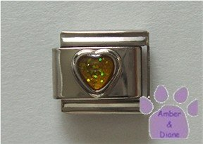 Glitter Heart Birthstone Italian Charm Topaz-Yellow for November
