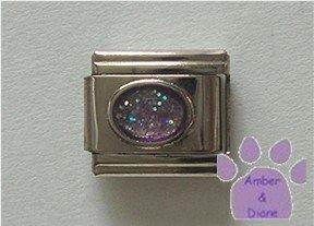 Glitter Oval Birthstone Italian Charm Alexandrite-Purple   June