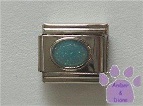 Glitter Oval Birthstone Italian Charm Aquamarine-blue for March