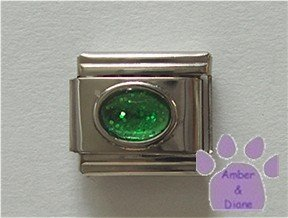 Glitter Oval Birthstone Italian Charm Emerald-Green for May