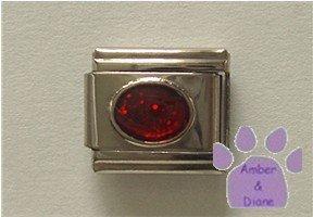 Glitter Oval Birthstone Italian Charm Garnet-Red for January