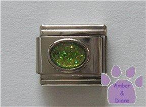 Glitter Oval Birthstone Italian Charm Peridot-Green for August