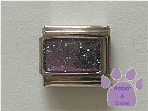 Glitter Rectangle Birthstone Italian Charm Alexandrite-Purple June