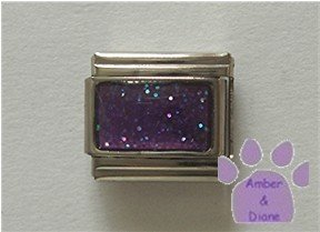 Glitter Rectangle Birthstone Italian Charm Amethyst-Purple February