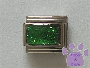 Glitter Rectangle Birthstone Italian Charm Emerald-Green for May