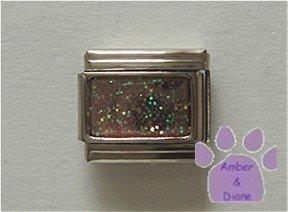 Glitter Rectangle Birthstone Italian Charm Opal-Pink for October
