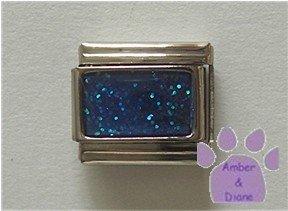 Glitter Rectangle Birthstone Italian Charm Sapphire-Blue for September