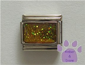 Glitter Rectangle Birthstone Italian Charm Topaz-Yellow for November