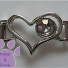 Birthstone Heart Italian Charm Connector Alexandrite-Purple June