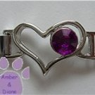 Birthstone Heart Italian Charm Connector Amethyst-Purple for February