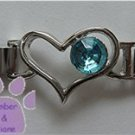Birthstone Heart Italian Charm Connector Aquamarine-blue March
