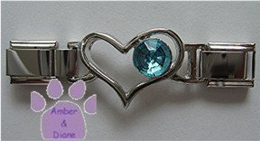 Birthstone Heart Italian Charm Connector Aquamarine-blue March