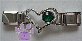 Birthstone Heart Italian Charm Connector Emerald-Green for May