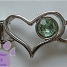 Birthstone Heart Italian Charm Connector Peridot-Green  August