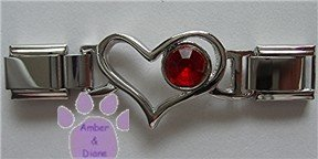 Birthstone Heart Italian Charm Connector Ruby-Red for July