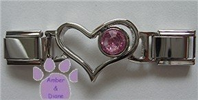 Birthstone Heart Italian Charm Connector Tourmaline-Pink October