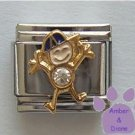 Boy April Birthstone Italian Charm with Diamond Crystal