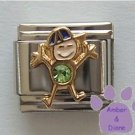 Boy August Birthstone Italian Charm with Peridot Crystal