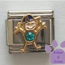 Boy December Birthstone Italian Charm Turquoise or Blue Zircon