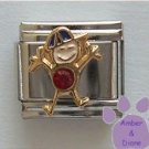 Boy January Birthstone Italian Charm with Garnet Crystal