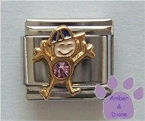 Boy June Birthstone Italian Charm with Alexandrite Crystal