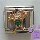 Boy May Birthstone Italian Charm with Emerald Crystal