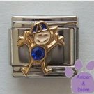 Boy September Birthstone Italian Charm with Sapphire Crystal