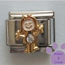 Girl April Birthstone Italian Charm with Diamond Crystal
