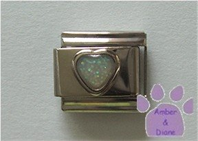 Glitter Heart Birthstone Italian Charm Diamond-White for April