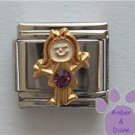 Girl February Birthstone Italian Charm with Amethyst Crystal