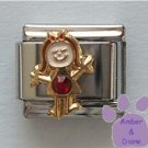 Girl January Birthstone Italian Charm Garnet Crystal