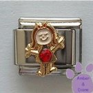 Girl July Birthstone Italian Charm with Ruby Crystal