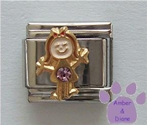 Girl June Birthstone Italian Charm with Alexandrite Crystal