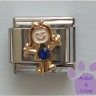 Girl September Birthstone Italian Charm with Sapphire Crystal