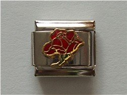 Open Rose Birthstone Italian Charm Garnet-Red for January