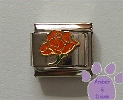 Open Rose Birthstone Italian Charm Topaz-Orange for November